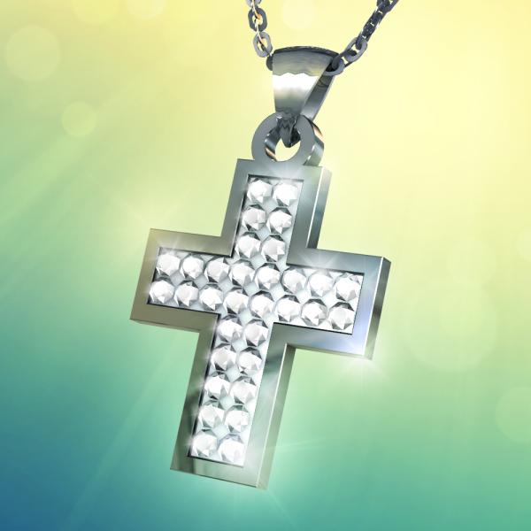 La Croix lumineuse de la Résurrection en acier inoxydable ornée de zircons, incluant la chaine et déjà bénite.